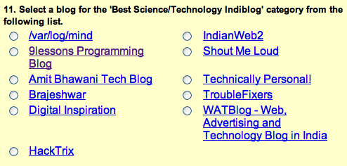 Science and Technology blogs nominations