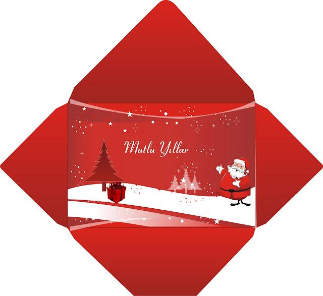 Noel için Kendi müşterilerime tasarladıgım Zarf ve Tebrik Kartı