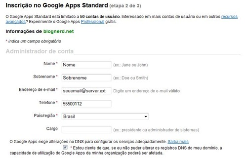 Criando conta do Google Apps