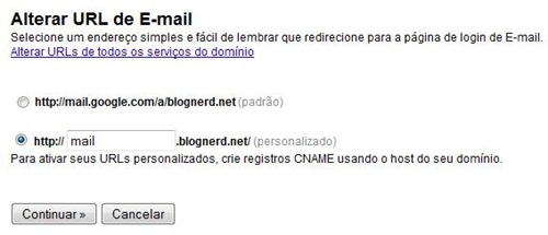 Alterando URL de login do email