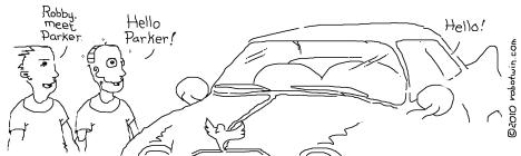 Standing at a car. Boy: Robby, meet Parker. BoyRobot: Hello, Parker! Car: Hello!