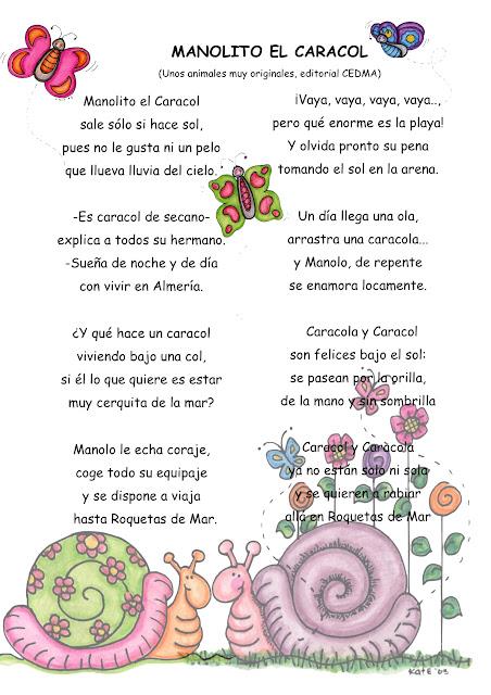 Bonitos poemas infantiles con dibujos para imprimir a los niños.