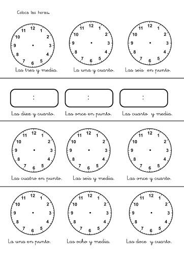 Ejercicios de las horas para imprimir - Dibujos de relojes para imprimir ...