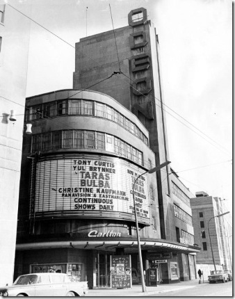 Toronto Theatres. Odeon Toronto Theatre, Carlton east of Yonge St. Photo taken by Harold Whyte in March 1963.