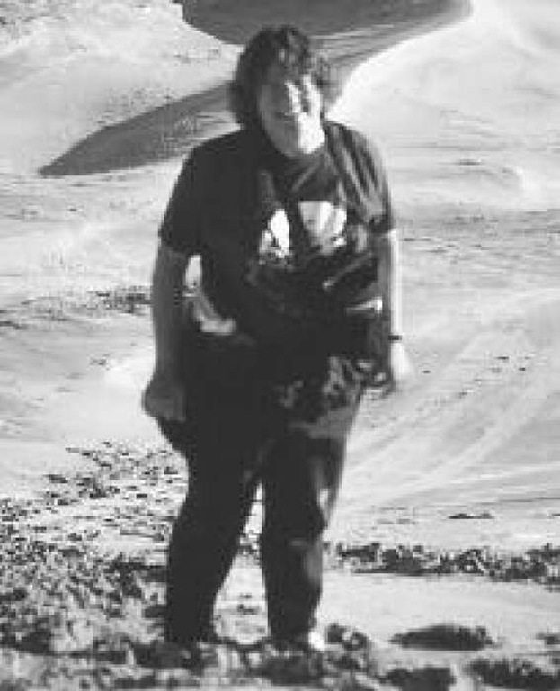 Tanya Atwater on a field trip to the Kelso Dunes, Central Mojave Desert in 1994