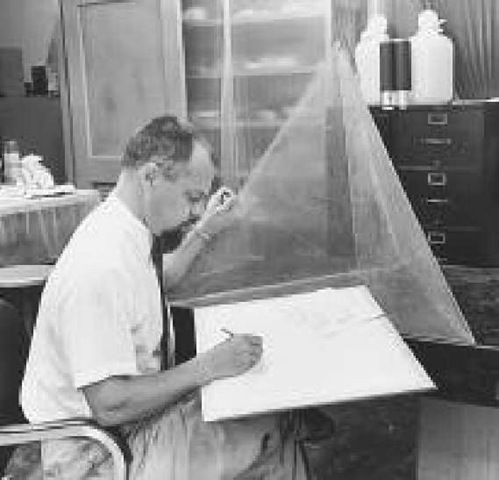 Edwin Roedder performing research on rock compositions on a phase diagram in his laboratory at the U.S. Geological Survey in 1958