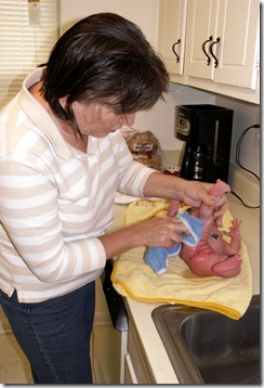 Elaine Day 6 bathtime with Grandma Godby