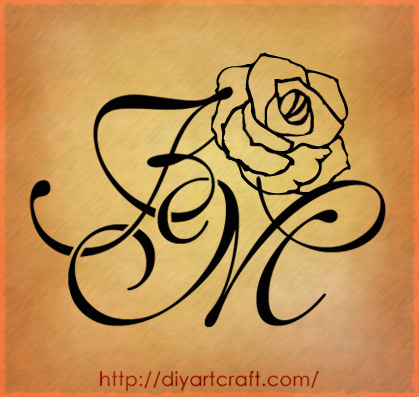 Disegna le maiuscole MF 4 soggetti originali per tatuaggi