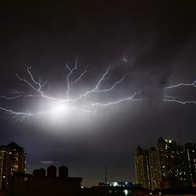 Thunder on Jakarta by Kresnata Adijaya - Landscapes Weather ( thunder, indonesia, jakarta, storm )