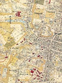 明治16(1883)年陸軍参謀本部測量図に描かれた麻布中央部の池や沼