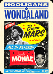 "Bruno Mars + Janelle Monáe em ""Hooligans In Wondaland Tour"""
