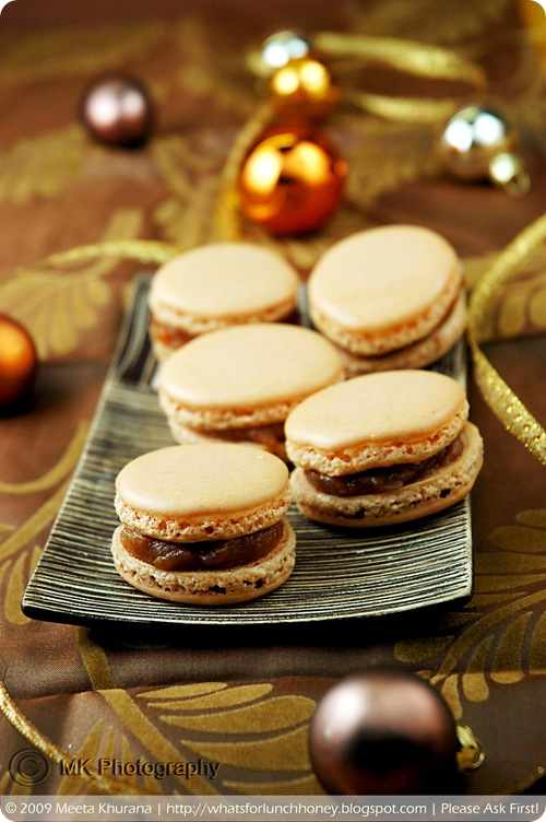 Lebkuchen Spice Macarons with Quince Jam and Candied Ginger (01) by MeetaK