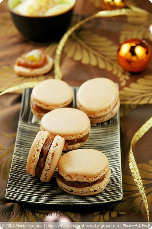 Lebkuchen Spice Macarons with Quince Jam and Candied Ginger (04) by MeetaK