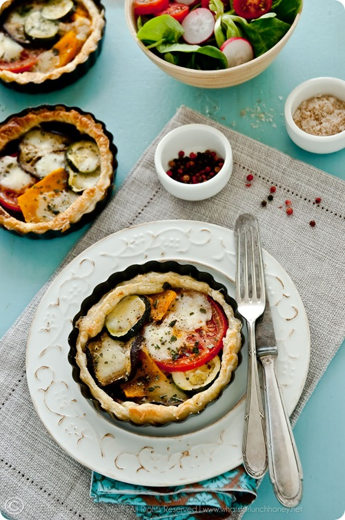 Roasted Pumpkin Aubergine Zucchini Tapenade Tarts with Buffalo Mozzarella (0005) by Meeta K. Wolff