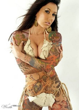 woman with full body tattoo, sexy woman tattoo, sexy tattoo