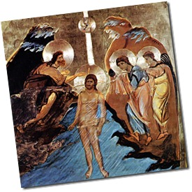 Jesus Baptized by John the Baptist in the River Jordan