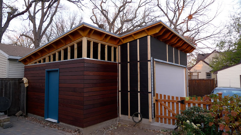 Garage build modern shed roof rain screen siding the garage