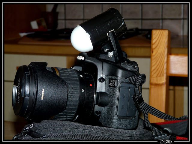 """Adaptation d'un """"ping pong diffusor"""" sur un flash de boîtier réflex P1030671"""