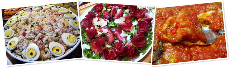 View eggplant, rice salad, bresaola