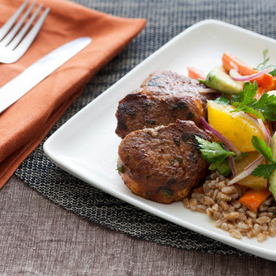 Seared Pork Tenderloin Medallions with Roasted Carrot, Avocado & Orange Salad over Farro