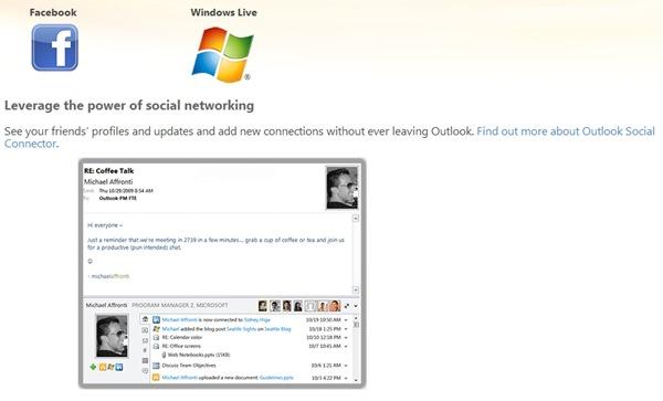 Outlook 社交畫面