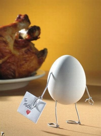 an egg and chicken