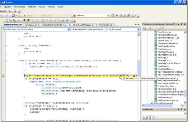 Punto de ruptura en ASP.NET MVC
