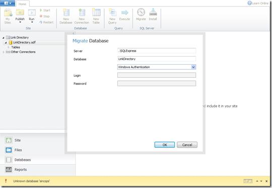 Migración de una base de datos SQL CE a SQL Server