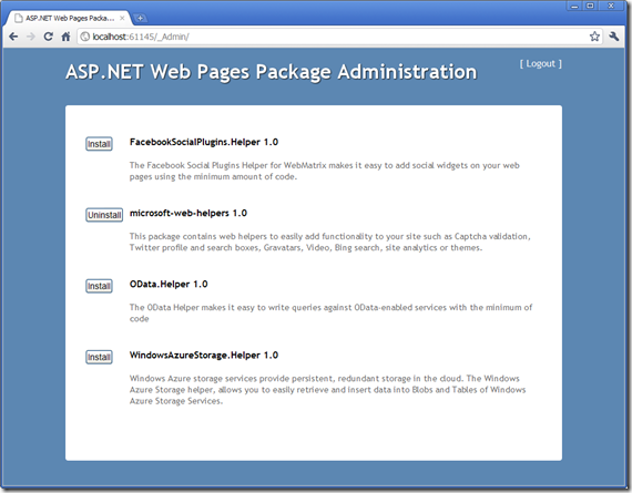 Gestor de paquetes en Webmatrix