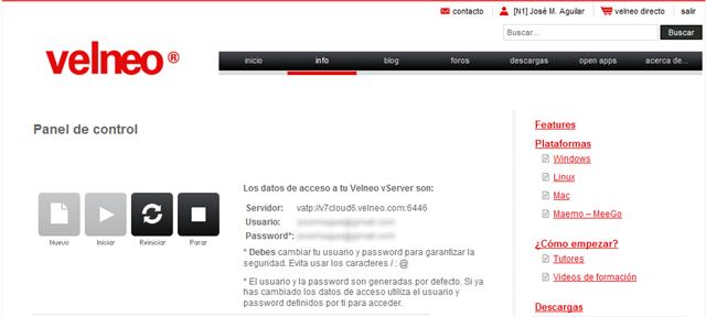 Panel de control del servidor vServer