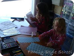 Emily and Katey making Father's Day Cards