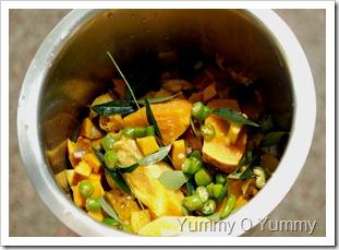 Chopped uppumanga and green chillies