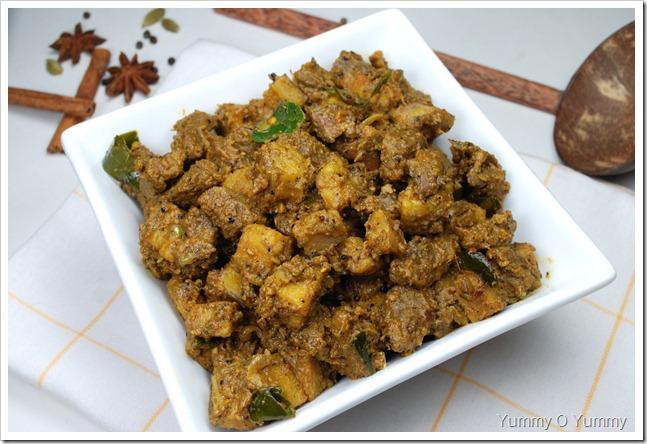 Beef - Kaya (Raw Banana) Ularthiyathu