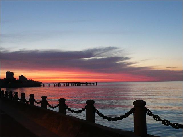 dawn over pier