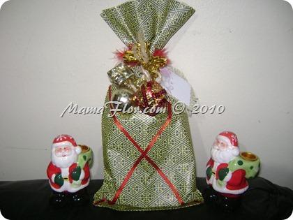 Como hacer una bolsa de regalo navidena para botella