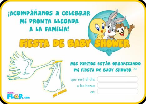Tarjeta de Invitación de Baby Shower para Imprimir | Baby Toons ...