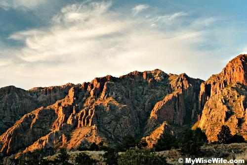 Sunset view of Chisos Mountains