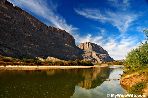 Water reflection of Santa Elena Canyon