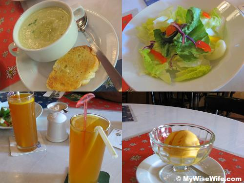 From top left (clock-wise) - Green pea soup, Fresh salad, Mango ice-cream, Ice lemon tea