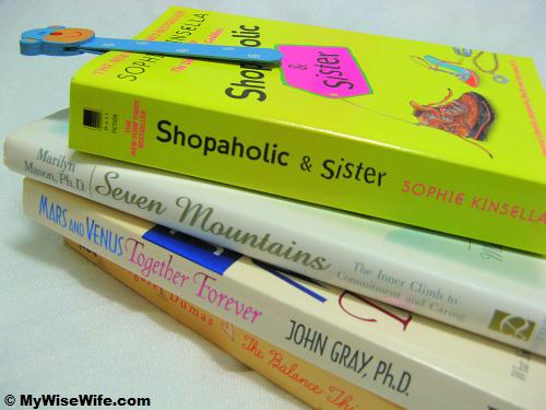 A stake of books - Shopaholics & Sister..