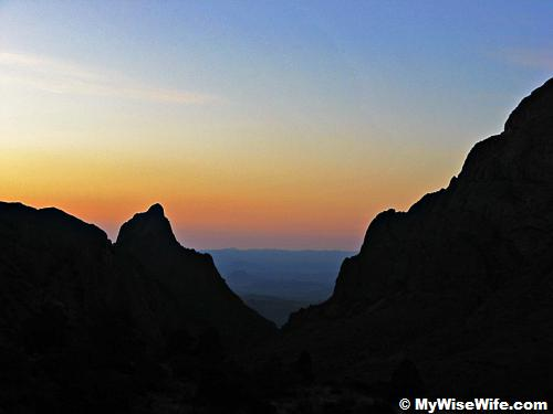 Sunset through 'The Window' in Chisos Basin