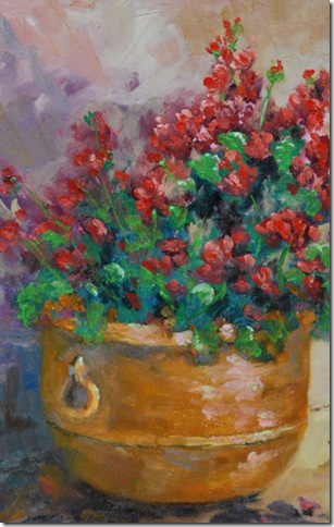 Geraniums and Clay, Original Oil painting, Jean Levert Hood