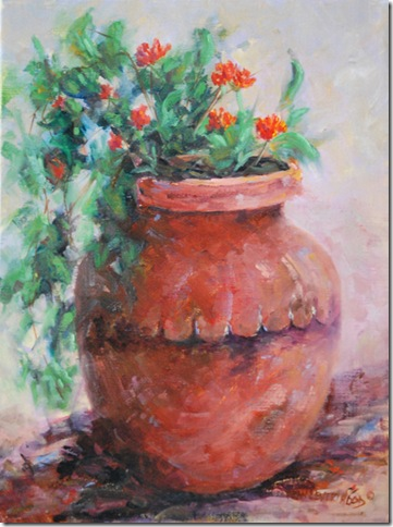 Clay and Flowers, Oil Painting, Jean Levert Hood