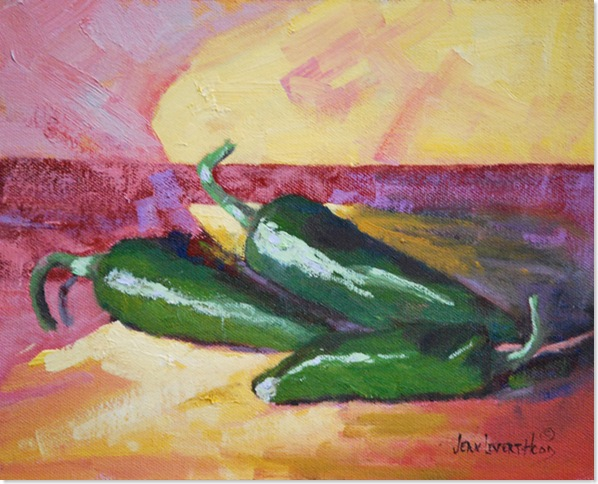 Three Jalapenos, Oil Painting, Jean Levert Hood