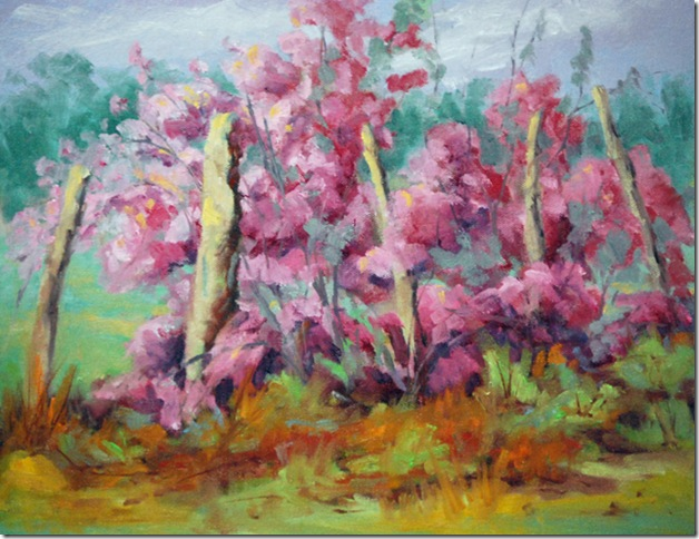 Sage in bloom, oil painting