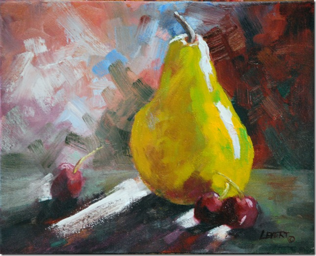Pear and  Cherries, Original Oil Painting, Jean Levert Hood