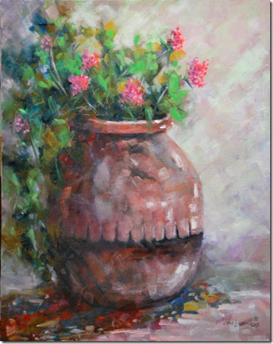 Clay Pot with Red Flowers, Oil painting, Jean Levert Hood