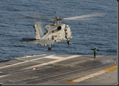 SH-60F Seahawk an American carrier-based aircraft preparing to land