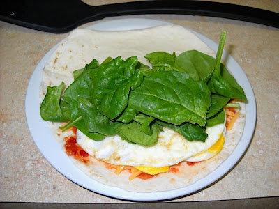 add egg and spinach