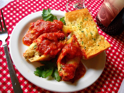 stuffed shells plated up